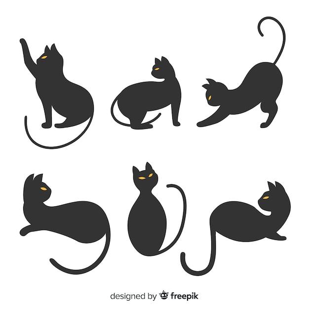 猫の手描きハロウィーンシルエット Premiumベクター