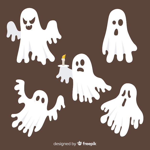 Hand drawn halloween spooky ghost collection Free Vector