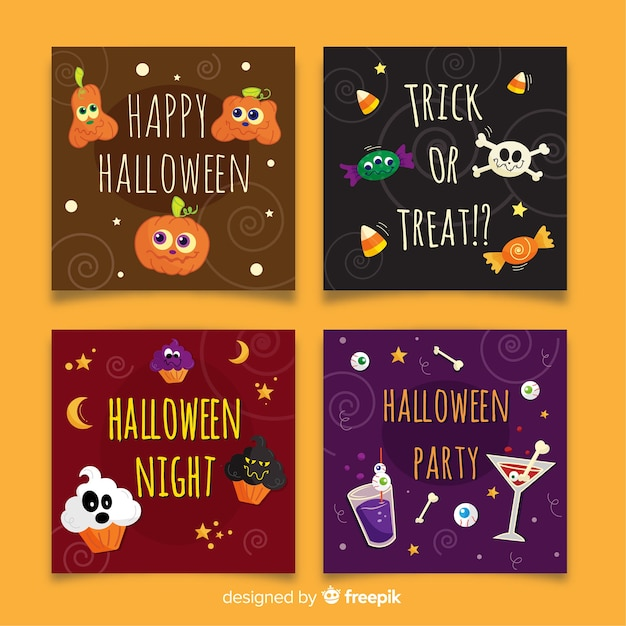 Hand drawn halloween squared card collection Free Vector