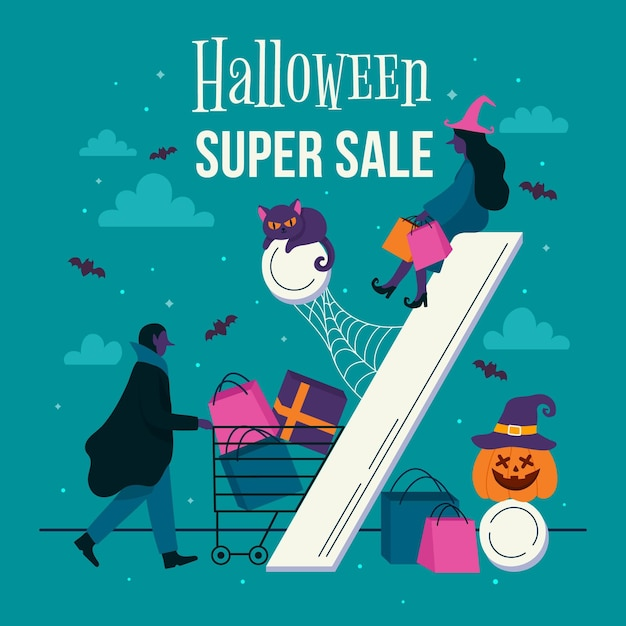 Hand drawn halloween squared sale banner Free Vector
