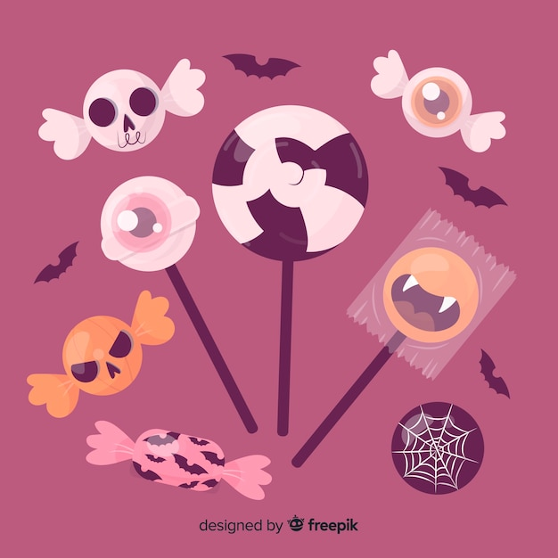 Hand drawn halloween sweet collection Free Vector