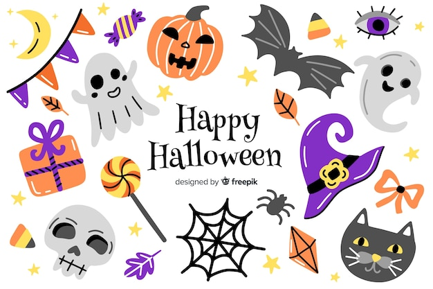 Hand drawn halloween symbols background Free Vector