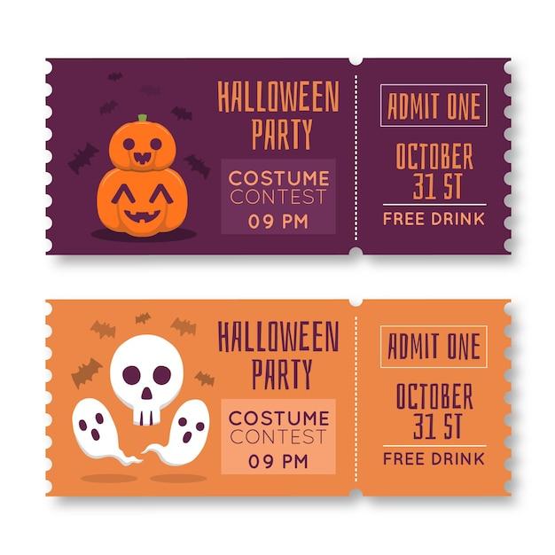 Modello di biglietti di halloween disegnato a mano Vettore gratuito