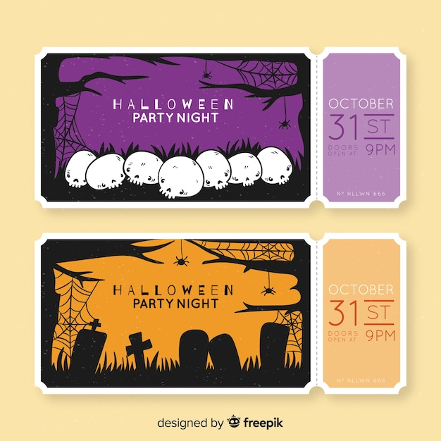 Hand drawn halloween tickets with skulls and tombstones Free Vector