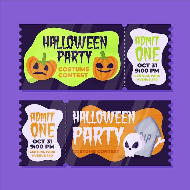 Biglietti di halloween disegnati a mano Vettore gratuito