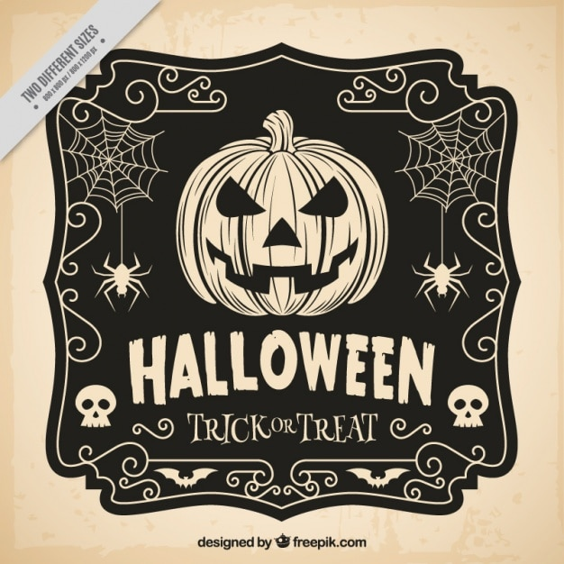 Hand drawn halloween vintage background  Free Vector
