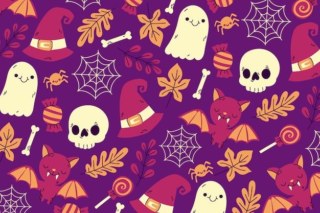 Рисованной обои на хэллоуин Бесплатные векторы
