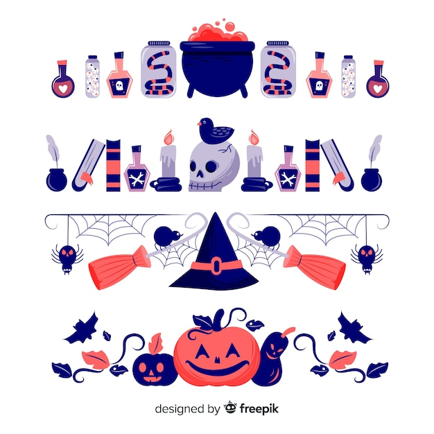 Hand drawn halloween witchcraft border collection Free Vector