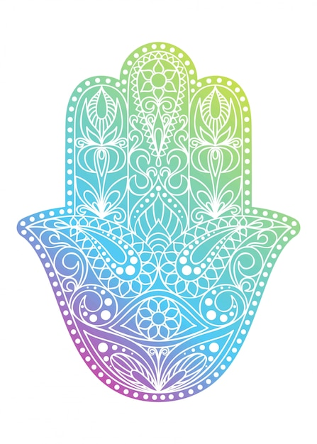 Hand drawn hamsa symbol.  hand of fatima. ethnic amulet common in indian, arabic and jewish cultures. colorful hamsa symbol with eastern floral ornament. Premium Vector