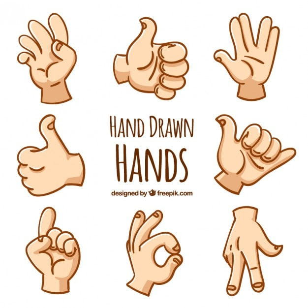 Hand drawn hand gestures Free Vector