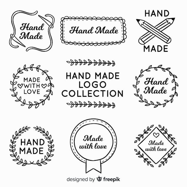 Hand drawn hand made logo Free Vector