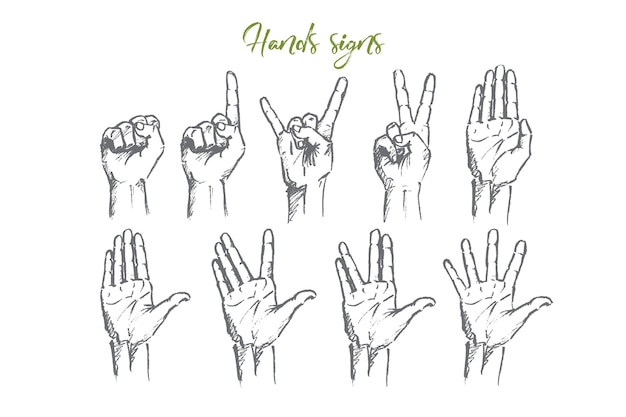 Hand drawn hand signs concept sketch Premium Vector