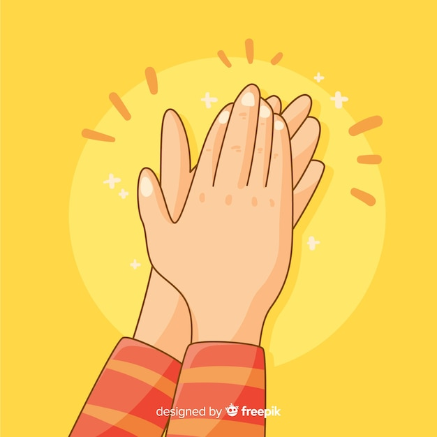 Hand drawn hands applauding background Free Vector
