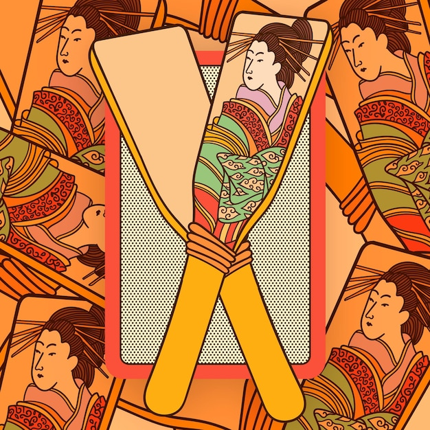手描きの羽突き日本人女性 無料ベクター
