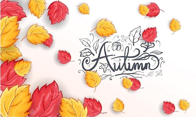 Sfondo di saluto autunno felice disegnato a mano Vettore gratuito