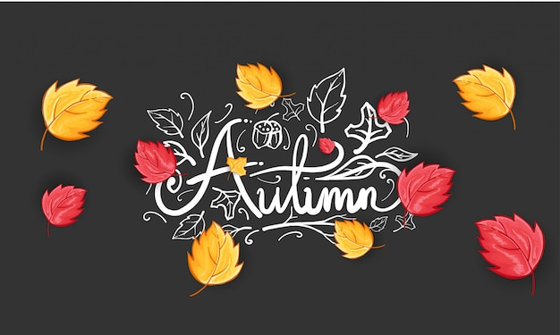 Hand drawn happy autumn greeting background Free Vector