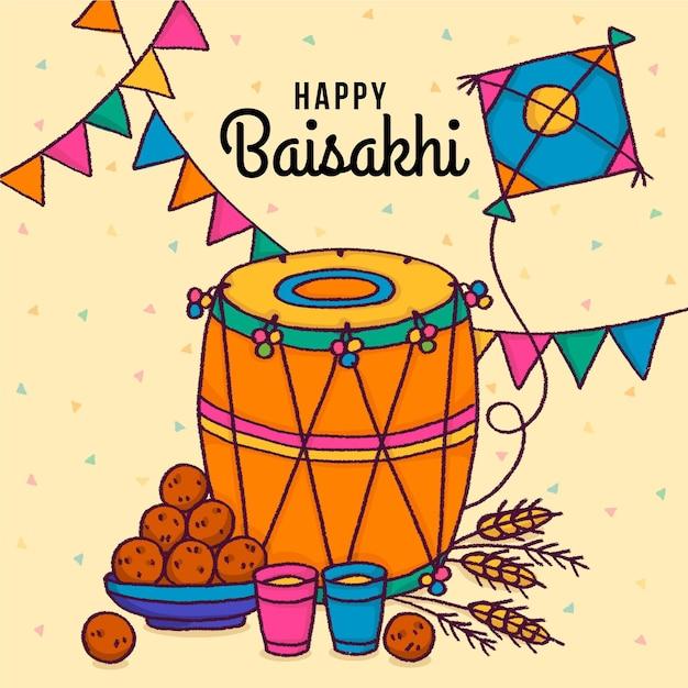 Illustrazione di baisakhi felice disegnata a mano Vettore gratuito