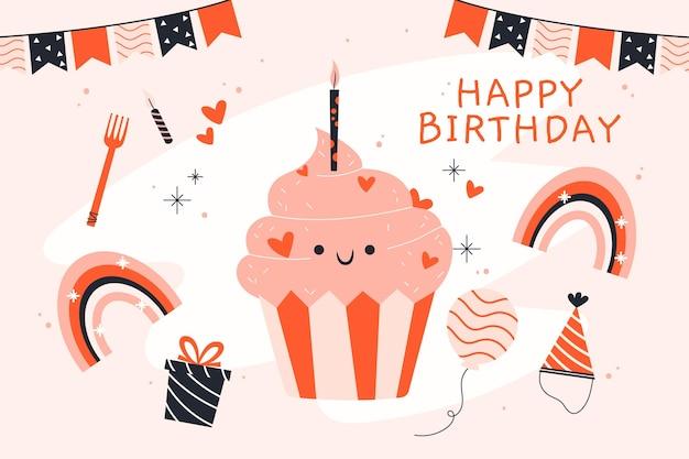 Sfondo di buon compleanno disegnati a mano Vettore gratuito