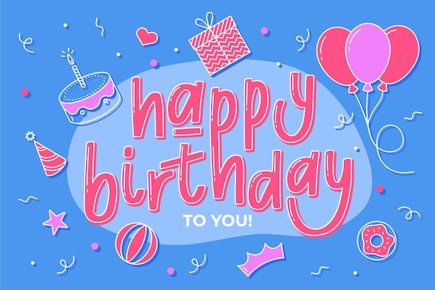 Hand drawn happy birthday background Free Vector