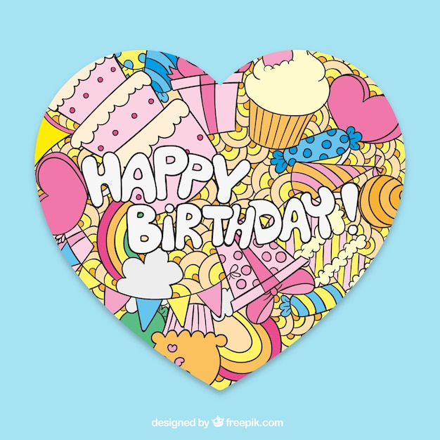hand drawn happy birthday card in cute style vector free download