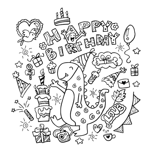 Hand drawn happy birthday doodles Premium Vector