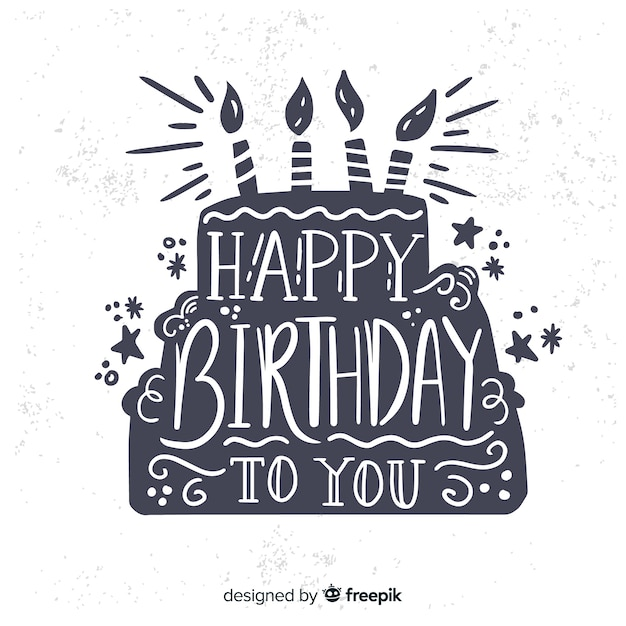 Hand drawn happy birthday lettering background Free Vector