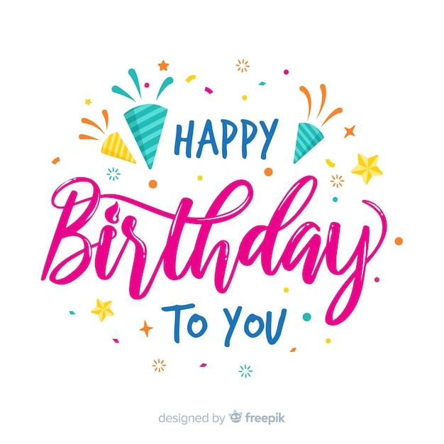 Hand drawn happy birthday lettering Free Vector