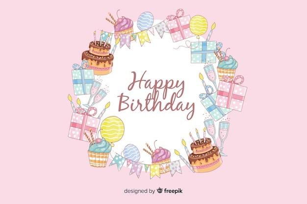 Hand drawn happy birthday pink background Free Vector