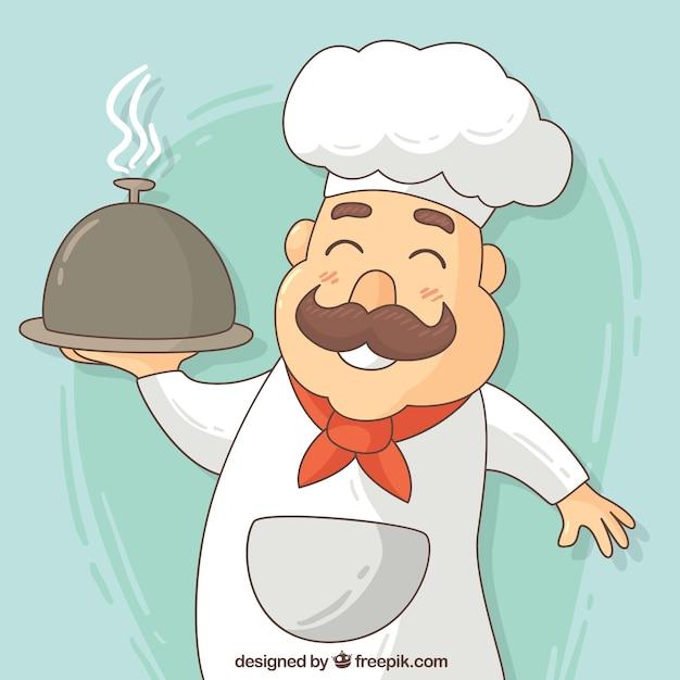Ручной обращается счастливый шеф-повар фон Бесплатные векторы