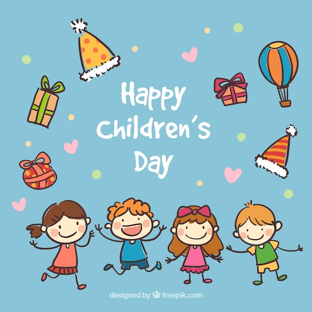 hand drawn happy childrens day card premium vector - Images For Childrens