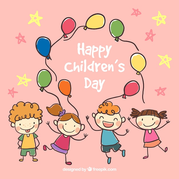hand drawn happy childrens day illustration free vector