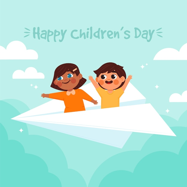Hand drawn of happy children's day Free Vector