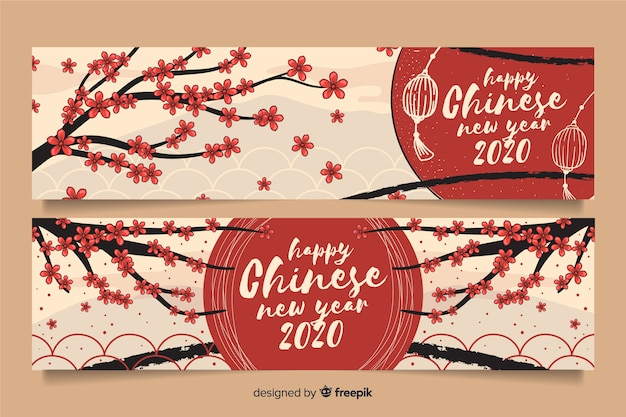 Hand drawn happy chinese new year banners Free Vector