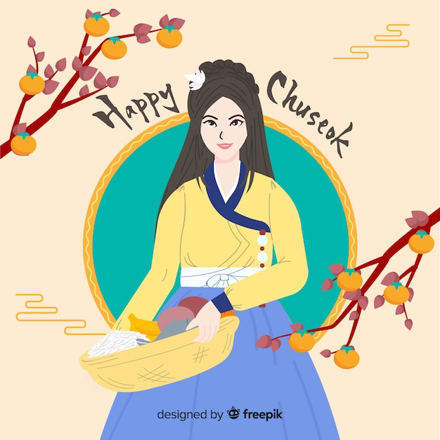 Hand drawn happy chuseok background Free Vector