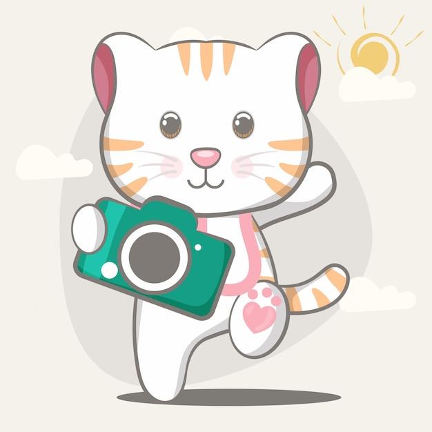 Hand drawn happy cute cat illustration for kids Premium Vector