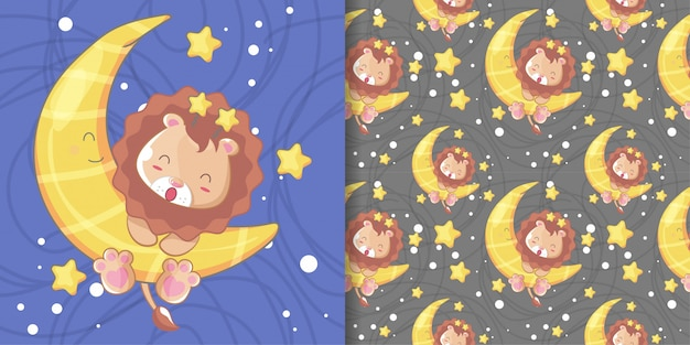 Hand drawn happy cute lion with moon and pattern set Premium Vector