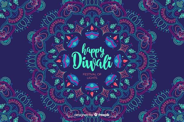 Hand drawn happy diwali background Free Vector