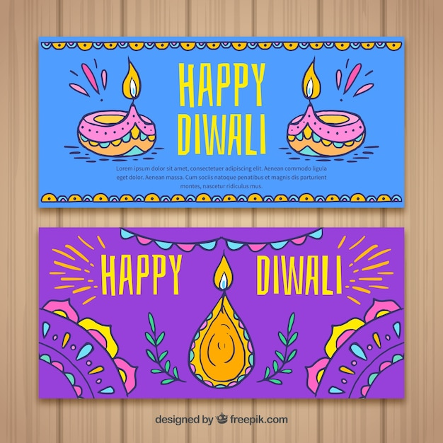 Hand drawn happy diwali banners