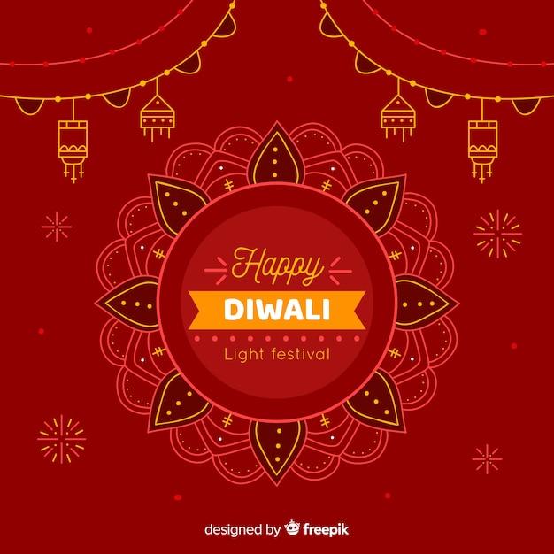 Hand drawn happy diwali festive background Free Vector