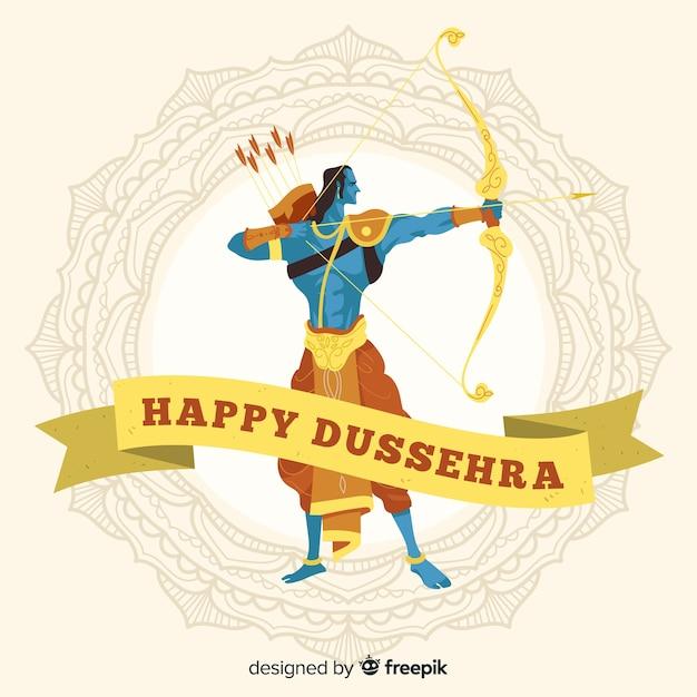 Hand drawn happy dussehra background Premium Vector