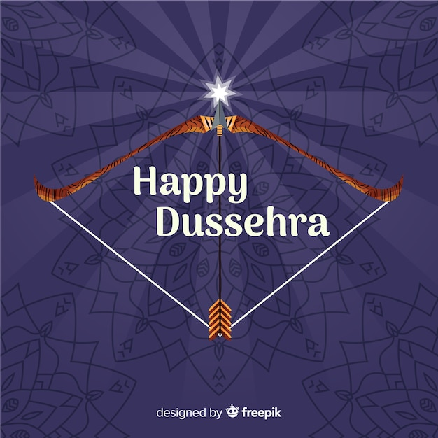 Hand drawn happy dussehra background Free Vector