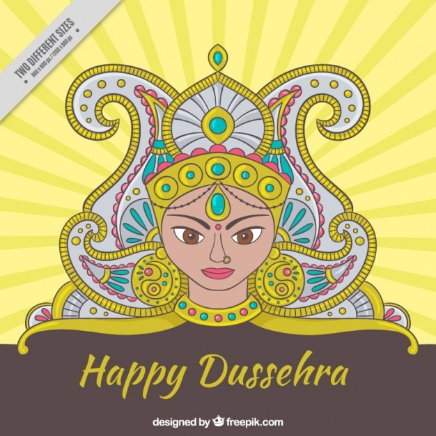 Hand drawn happy dussehra ornamental background Free Vector