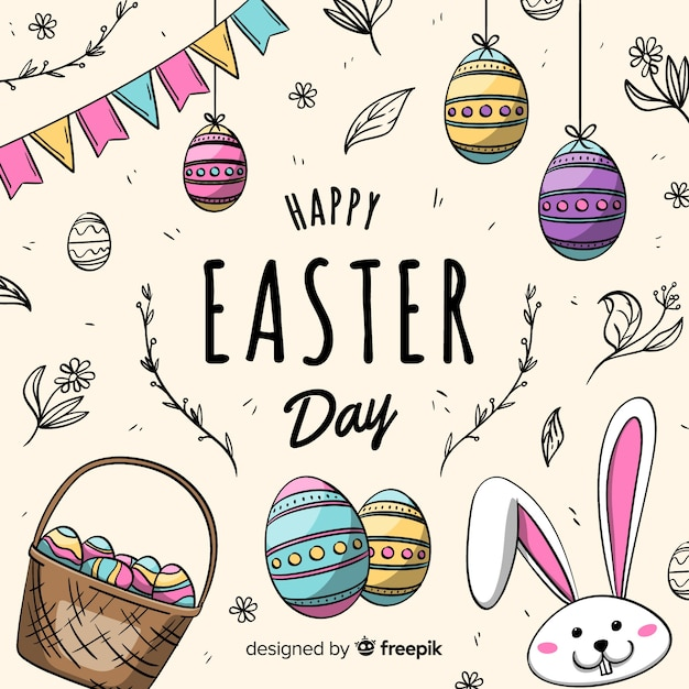 Hand drawn happy easter day background Free Vector