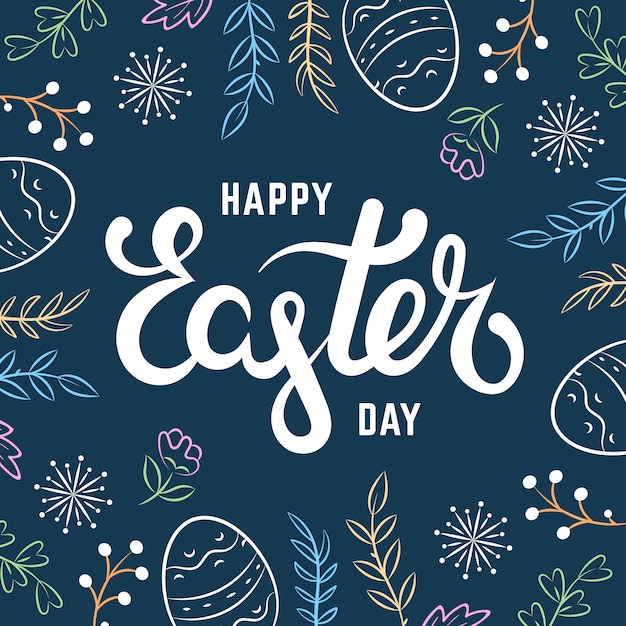 Hand drawn happy easter day concept Free Vector