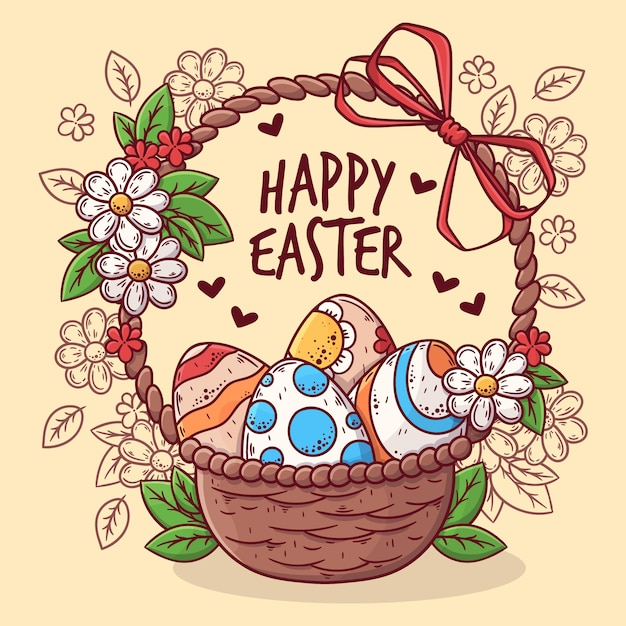 Hand-drawn happy easter day design Free Vector