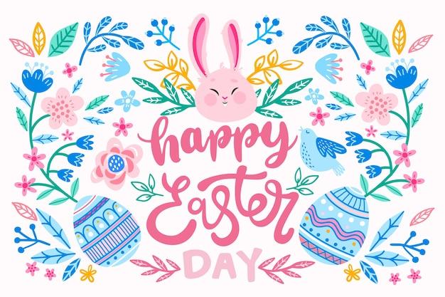 Рисованной счастливые пасхальные яйца и кролик Premium векторы