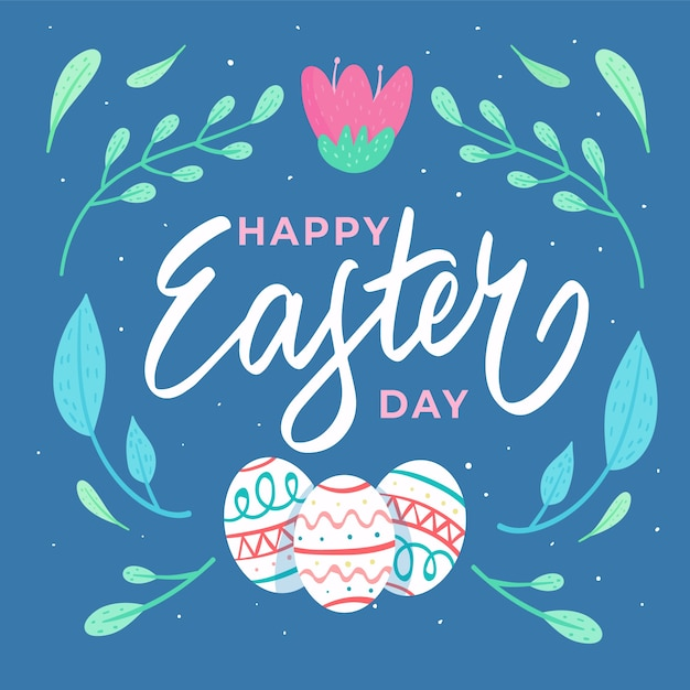 Hand drawn happy easter day Free Vector