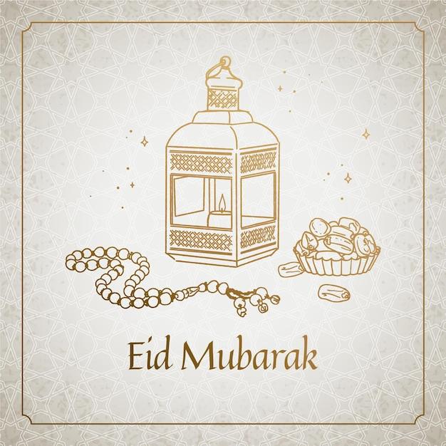 Hand drawn happy eid mubarak traditional objects Free Vector