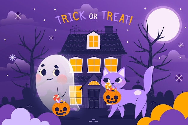 Hand drawn happy halloween background with ghost and cat Free Vector