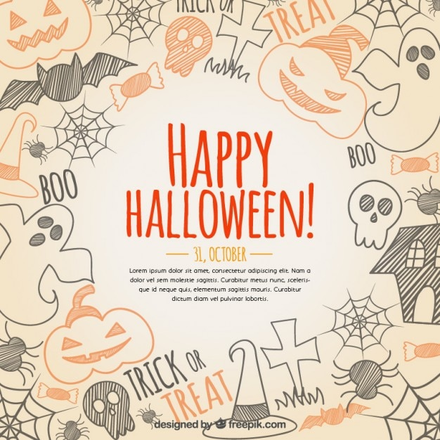 hand drawn happy halloween background free vector - Halloween Background Images Free